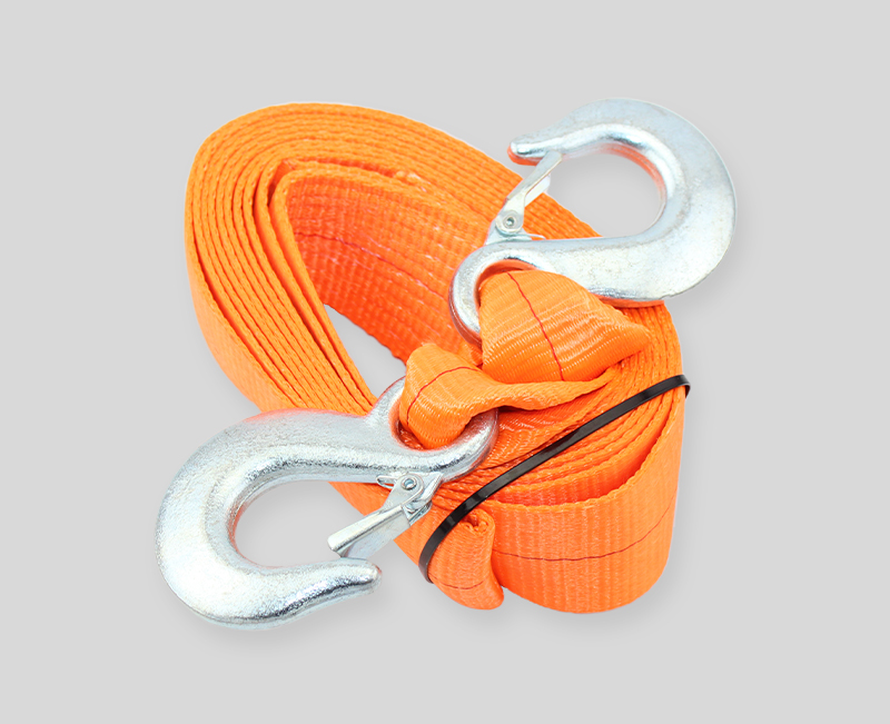 heavy duty car tow straps with hook- 3 width - orange