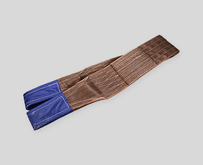 100% Polyester Webbing Sling - Brown Body Blue Head